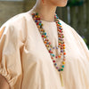 Modeled Kantha Tiered Tassel Necklace