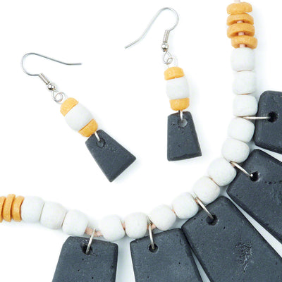 Mustard Niamey Earrings with necklace close up