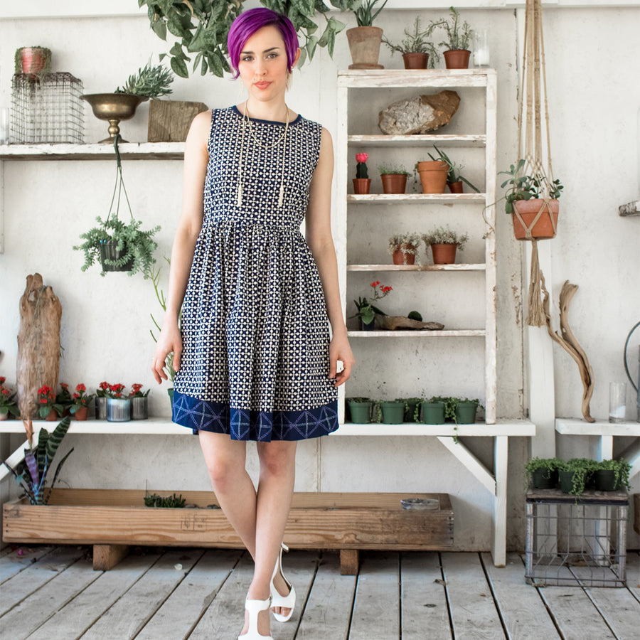 Navy Tic Tac Toe dress
