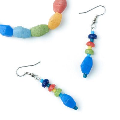 Rainbow Pebbles Earrings and Bracelet