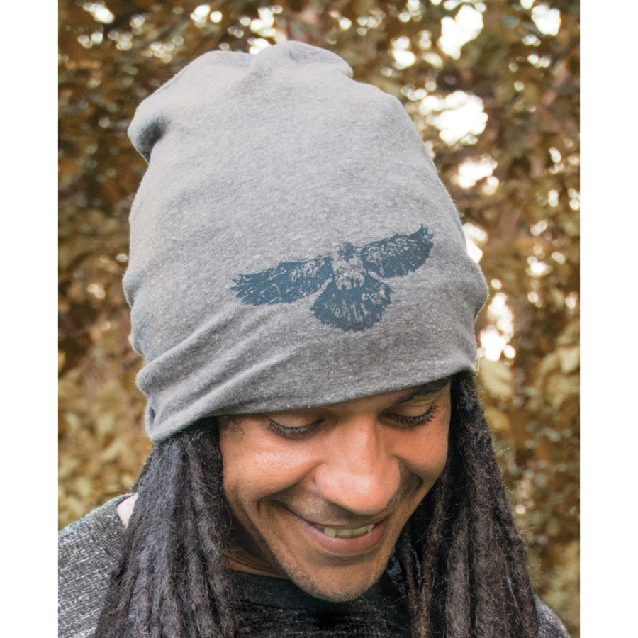 This soft slouchy beanie hat can be worn slouched or scrunched. Made in USA. 48% recycled plastic (from recycled beverage bottles), 36% organic cotton, 12% rayon, 4% spandex
