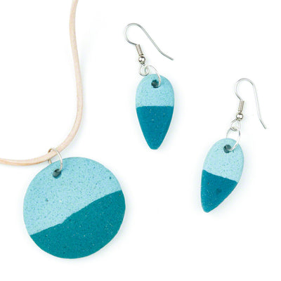 Teal Sahel Earrings and Necklace