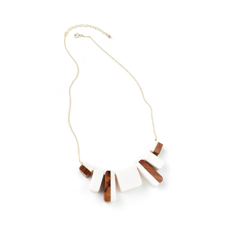 Two Tone Block Necklace White Closeup