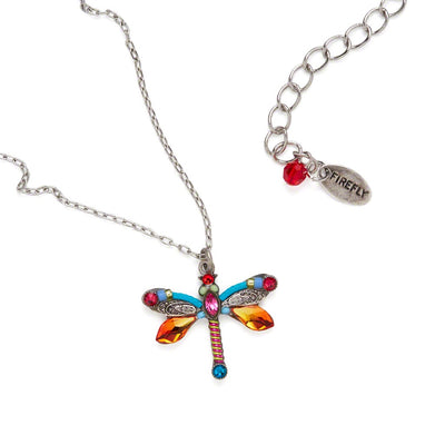 Dragonfly Large Pendant Necklace-Multicolor