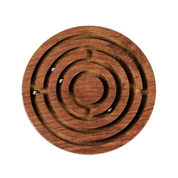Ethically sourced wood labyrinth game, played by maneuvering metal beads through the hand carved, Indian Rosewood maze.