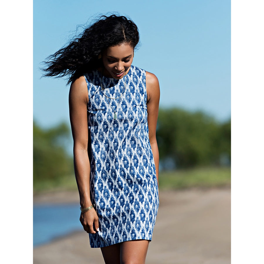 Ikat Polo dress in blue