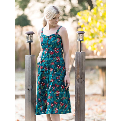 Teal Aloha Midi dress