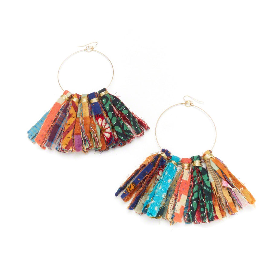 Kantha Statement Fringe Earrings