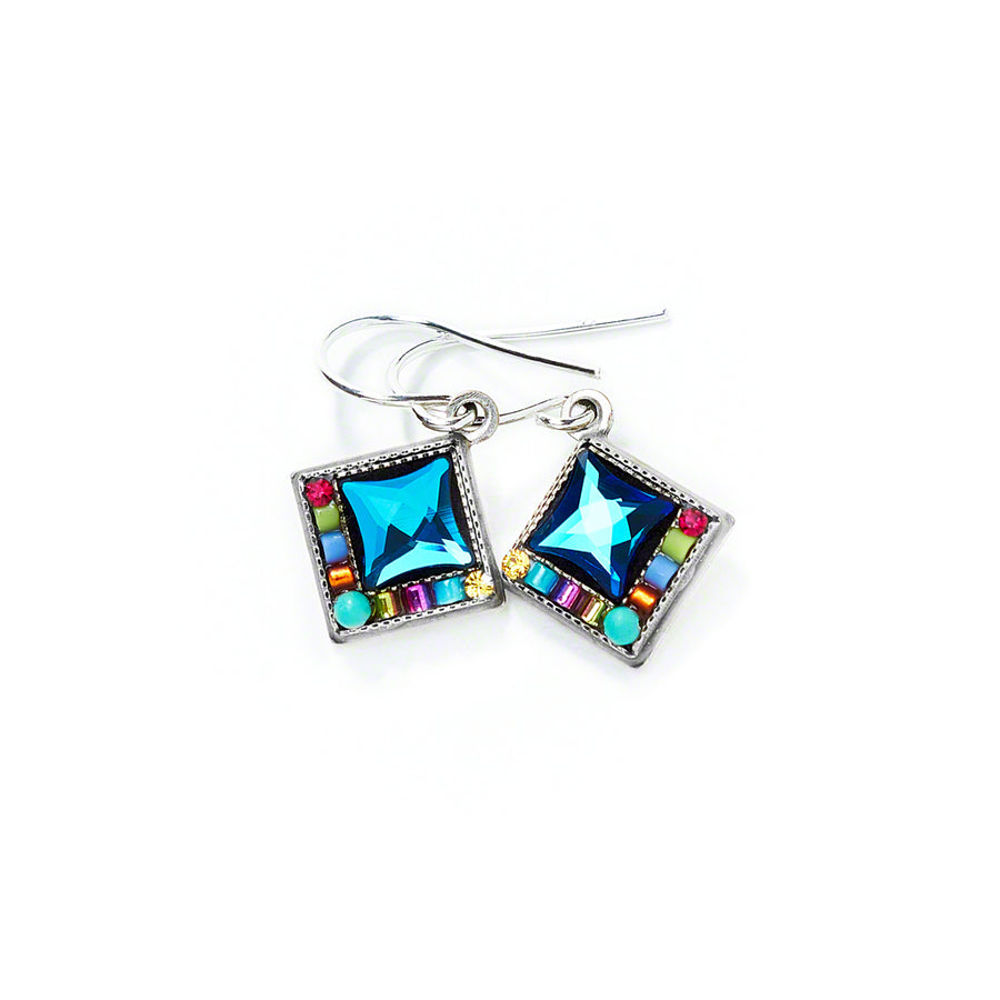 Bright Diamond Shape Earrings, Multicolor