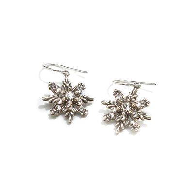 Snowflake Earrings, Silver