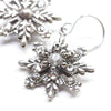 Snowflake Earrings, Silver, closeup
