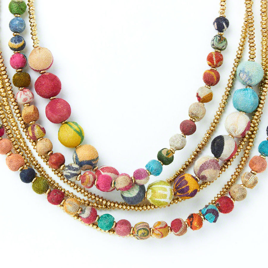 Kantha Gilded Strands Necklace