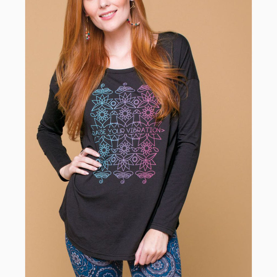 Vibrate at the highest possible frequency in this colorful drop shoulder t-shirt. The best part? This design is printed on a super soft, snuggly fabric made from pure organic cotton!