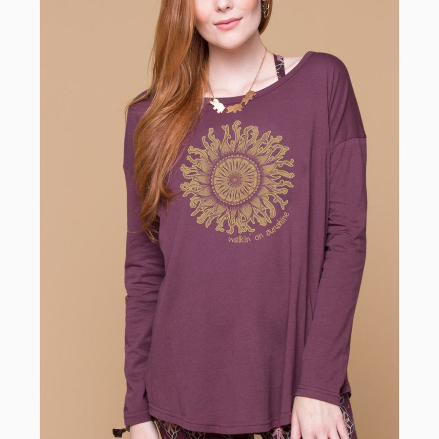 Hand drawn and printed onto our soft Organic Long Sleeve Slouch Top, this blazing sun design is sure to brighten up your day. Made in the USA. 100% organic cotton.