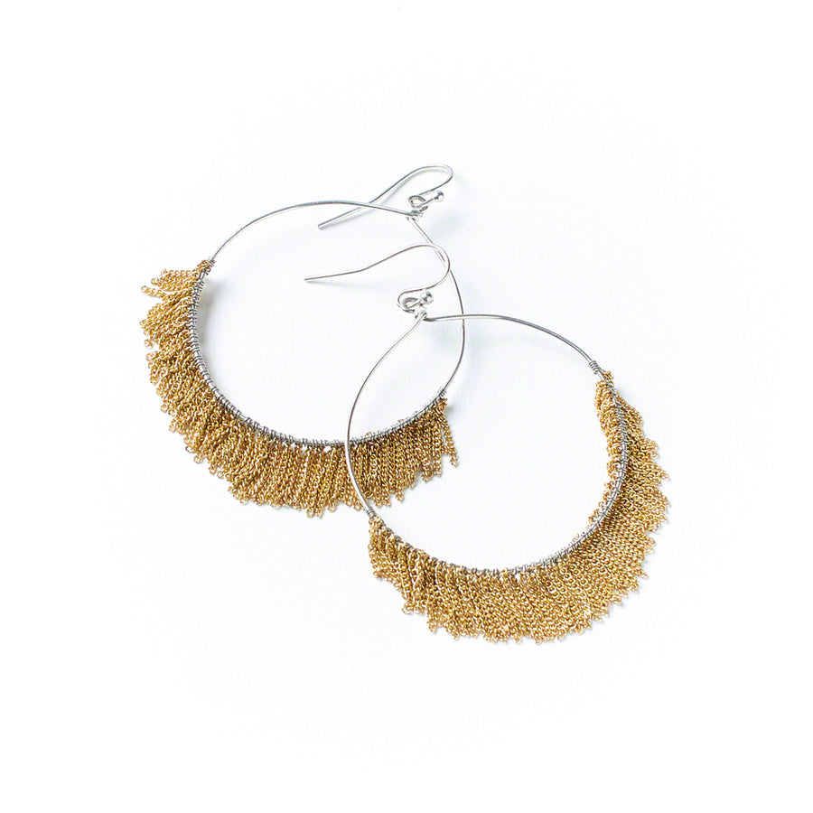 Fringed Chain Hoops