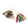 Fringed Kantha Earrings. Layers of fringed Kantha textile strips hang from a delicate gold wire frame