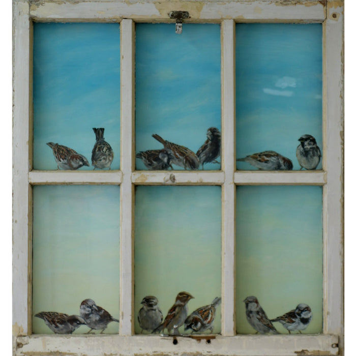 6 pane window with 14 sparrows