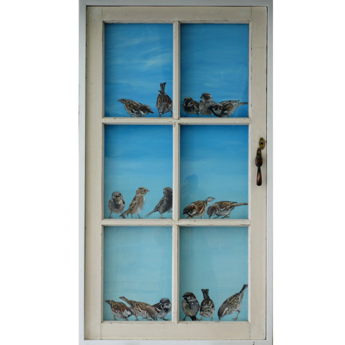 6 pane window with 16 sparrows