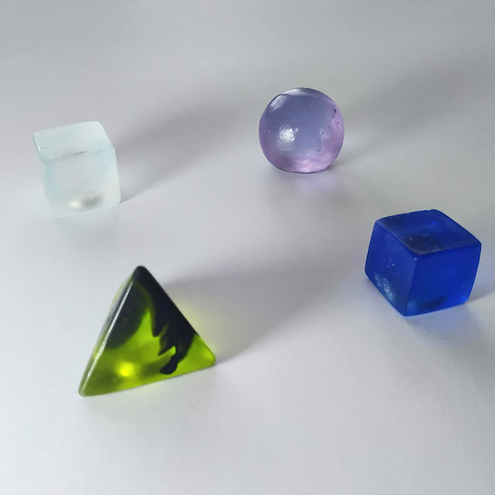 Lime green & black, pink & blue, cobalt blue, clear