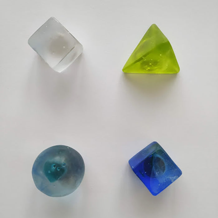 Lime green, cobalt blue, clear, clear & blue