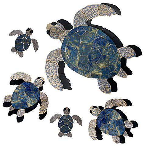 Aquatic Custom Tile Blue Sea Turtle Family Porcelain Swimming Pool Mosaic