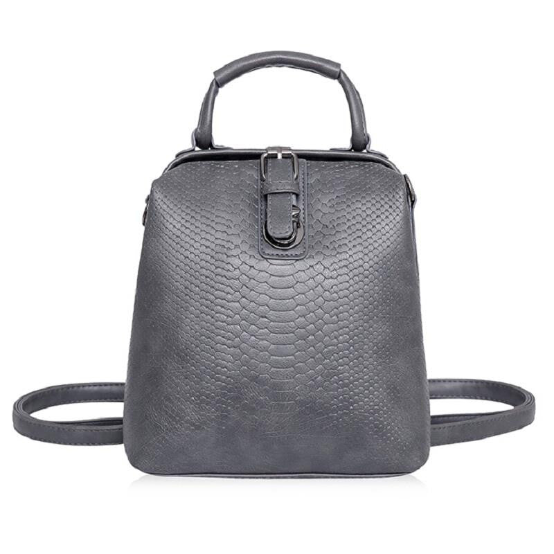 Gray Leather Belt Backpack - Baliva