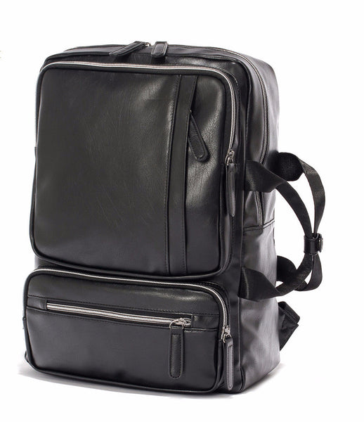 Black Vintage Leather Backpack - Baliva