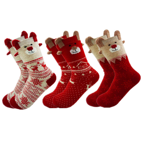 Soft Christmas Reindeer Socks - Baliva
