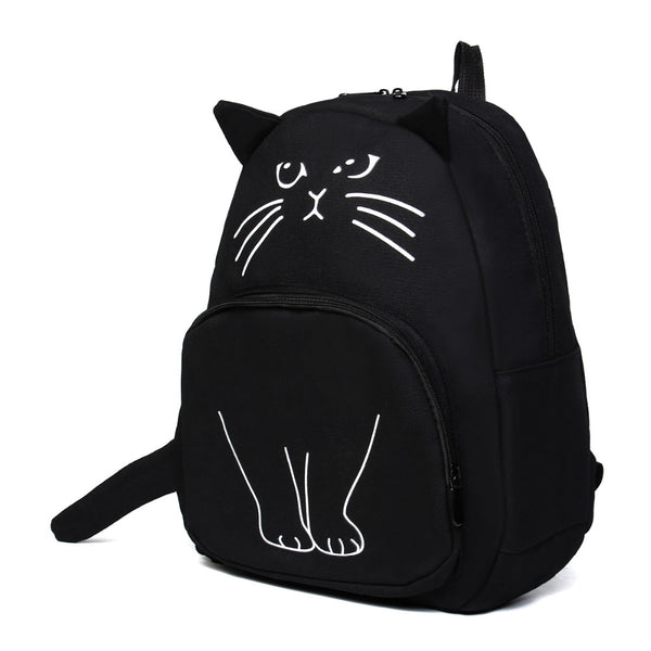 Black Printed Cat Backpack - Baliva