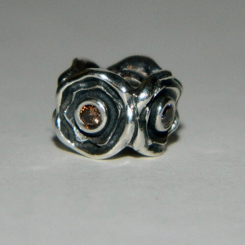 Authentic Pandora Charm Flower Champagne Brown CZ S925 Ale 790316CCZ
