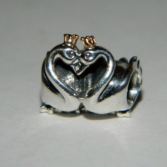 Authentic Pandora Charm Swan Embrace 14k Crown S925 Ale 791189