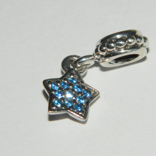 Authentic Pandora Charm Blue Pave Star S925 Ale 791024CZB