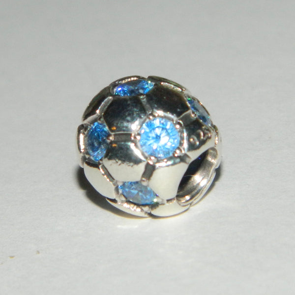 Authentic Pandora Charm Blue Soccer Ball S925 Ale 790444CZB