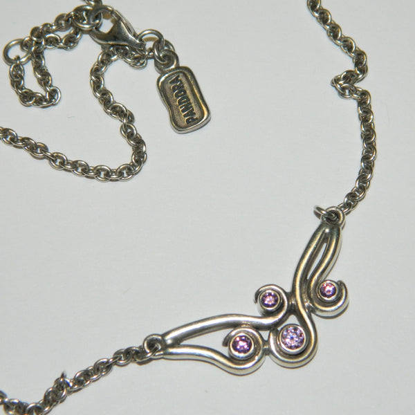 Authentic Pandora Necklace Amethyst Ocean Wave 925 Ale 790369A