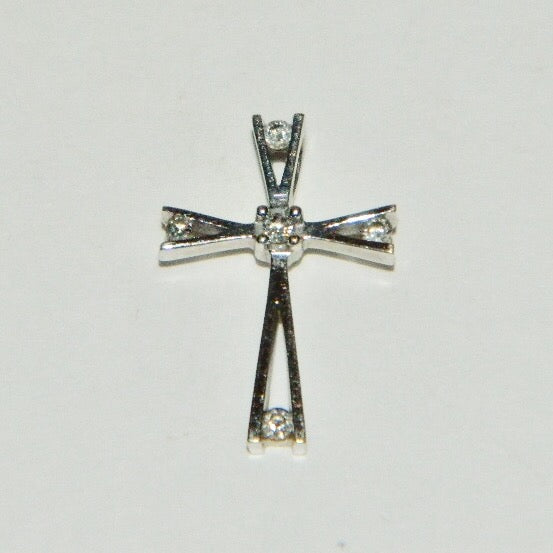 Vintage 10k Solid White Gold Genuine Diamonds Cross Pendant