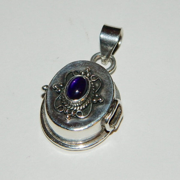 Vintage 925 Sterling Silver Amethyst Locket Pill Box Pendant