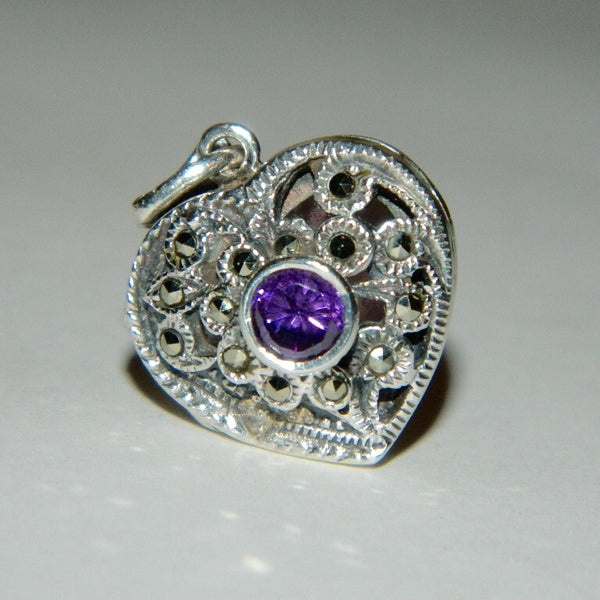 Vintage 925 Sterling Silver Amethyst and Marcasite Locket Pendant
