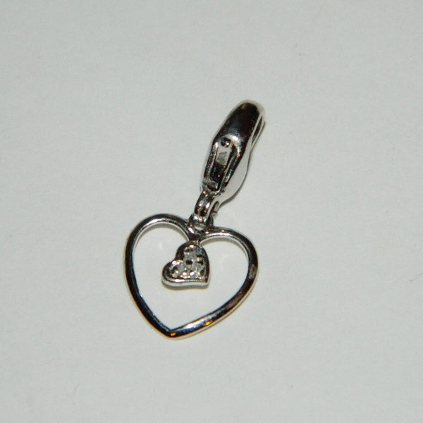 10k Solid White Gold Genuine Diamonds Heart Charm Lobster Clasp