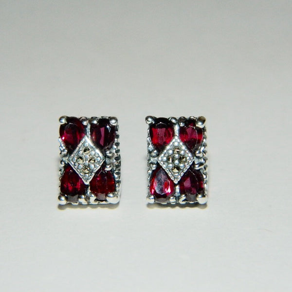 Vintage 925 Sterling Silver Garnet and Marcasite Earrings