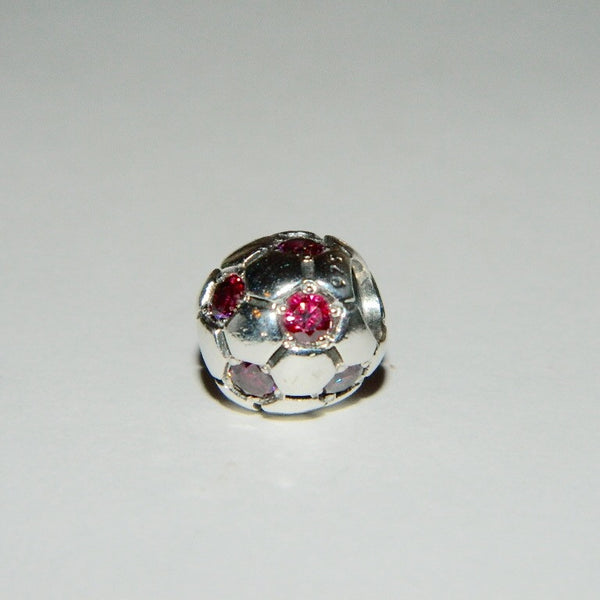 Authentic Pandora Charm Red Soccer Ball S925 Ale 790444CZR