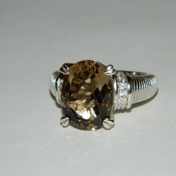 Authentic Judith Ripka Ring Smoky Quartz and Diamonique Size 9.5