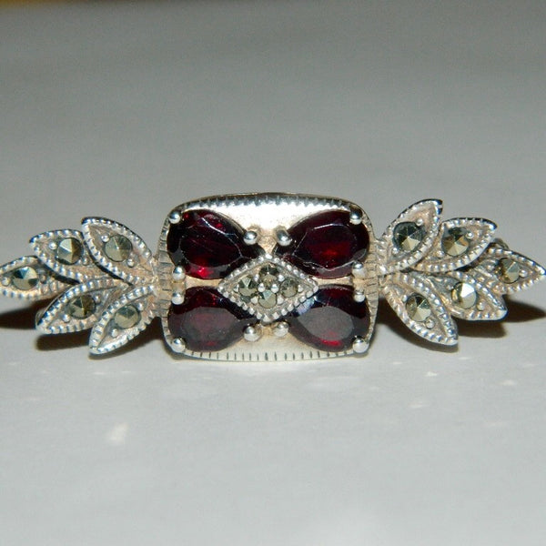 Vintage 925 Sterling Silver Garnet and Marcasite Brooch