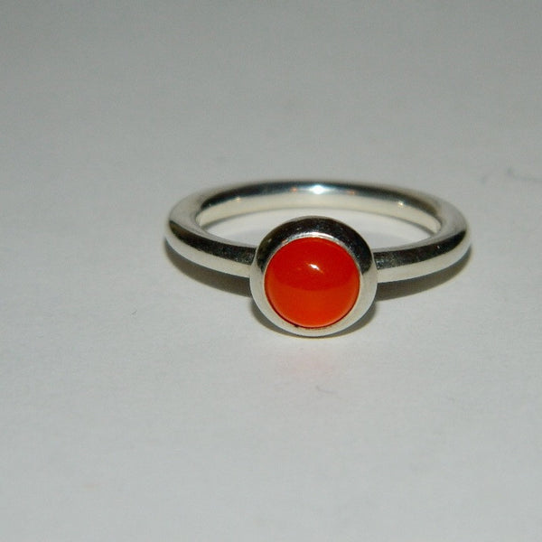 Authentic Pandora Ring Carnelian Smooth Cabochon S925 Ale 190608K Size 6