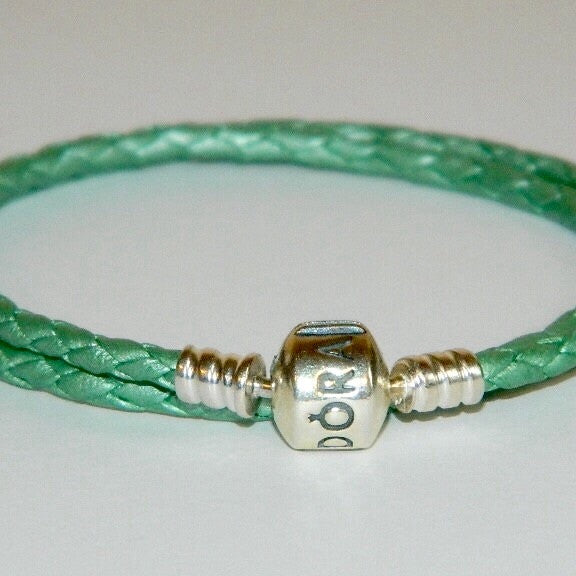 Authentic Pandora Charm Bracelet  Green Leather S925 Ale 590705CLG-D2 15.1""