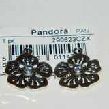 Authentic Pandora Compose Earrings Blue Flower S925 Ale 290623CZX