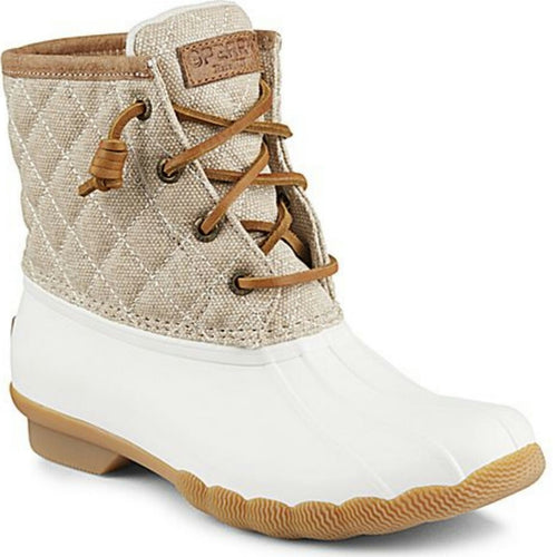 Women's Sperry Saltwater Quilted Duck Boot. Ivory