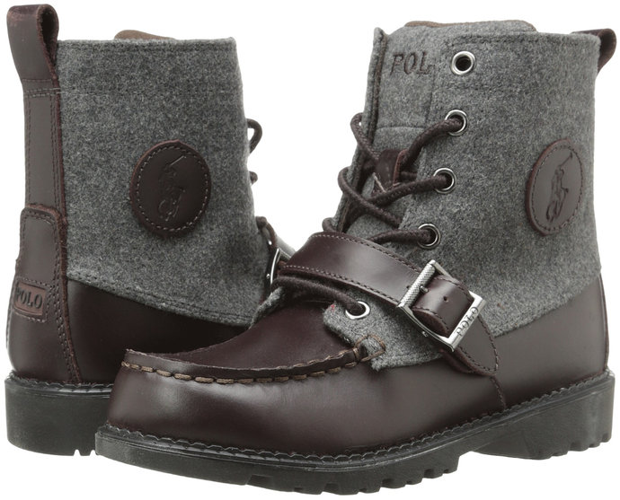 Boy's Polo Ranger Hi Boots. Chocolate\Grey