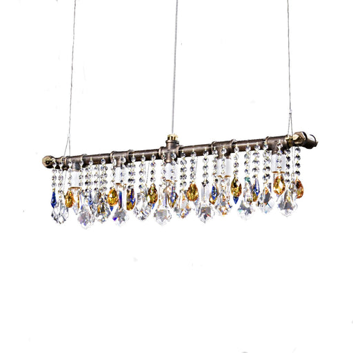 Industrial Swarovski Linear Chandelier - Unique Artistic industrial chic modern crystal linear chandeliers, pendants, lamps and lighting from Michael McHale Designs