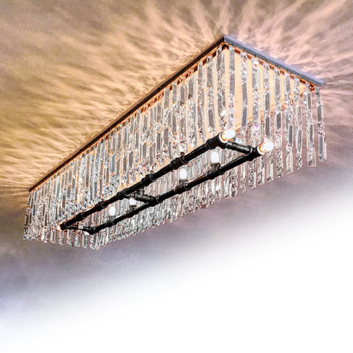 Lawrence Crystal Linear Flush Mount Chandelier - Unique Artistic industrial chic modern crystal linear chandeliers, pendants, lamps and lighting from Michael McHale Designs