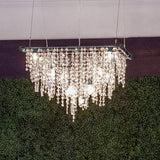 Tribeca collection; Modern chandelier; modern lighting; crystal; steel; sparkly; lighting; chandelier